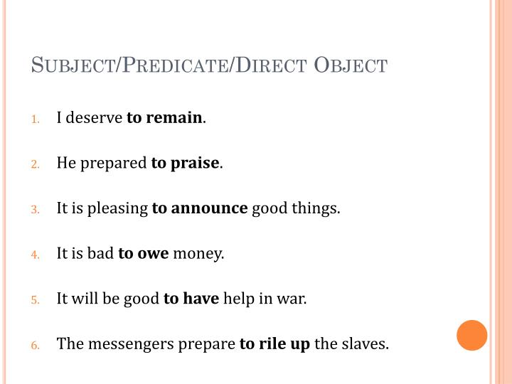 Subject/Predicate/Direct Object