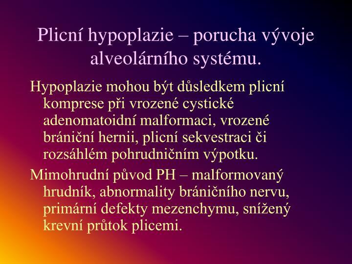 Plicní hypoplazie – porucha vývoje alveolárního systému.