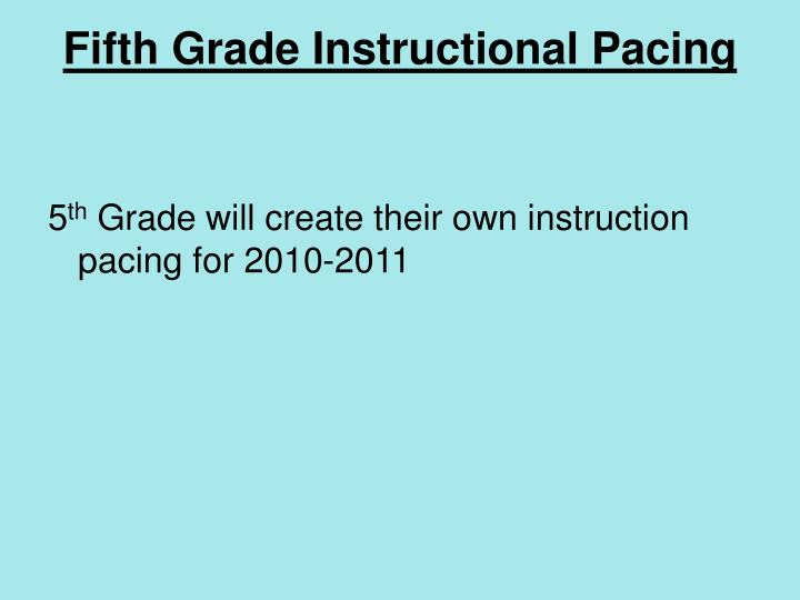 Fifth Grade Instructional Pacing