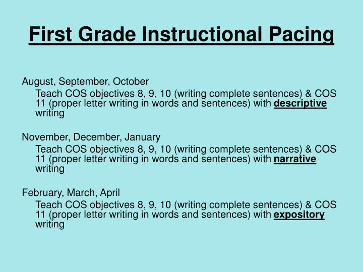 First Grade Instructional Pacing