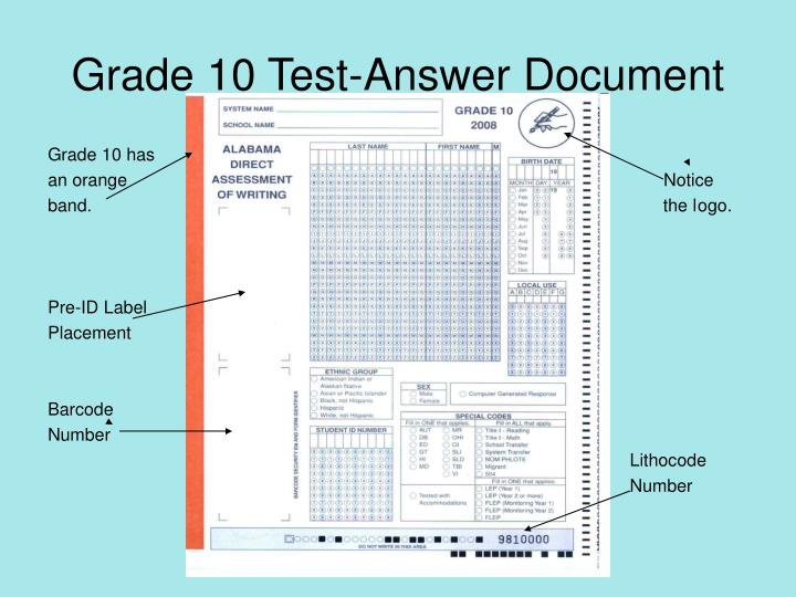 Grade 10 Test-Answer Document