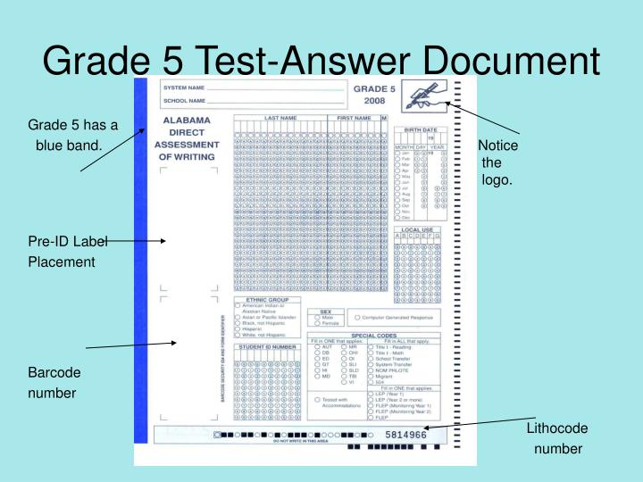 Grade 5 Test-Answer Document