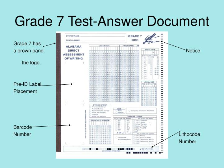 Grade 7 Test-Answer Document