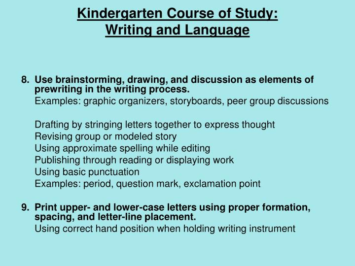 Kindergarten Course of Study: