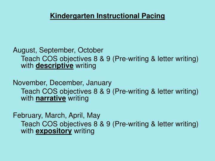 Kindergarten Instructional Pacing