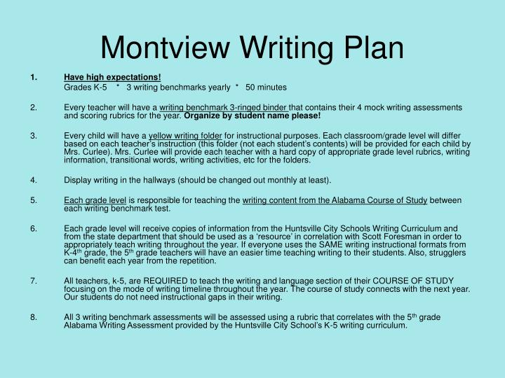 Montview Writing Plan