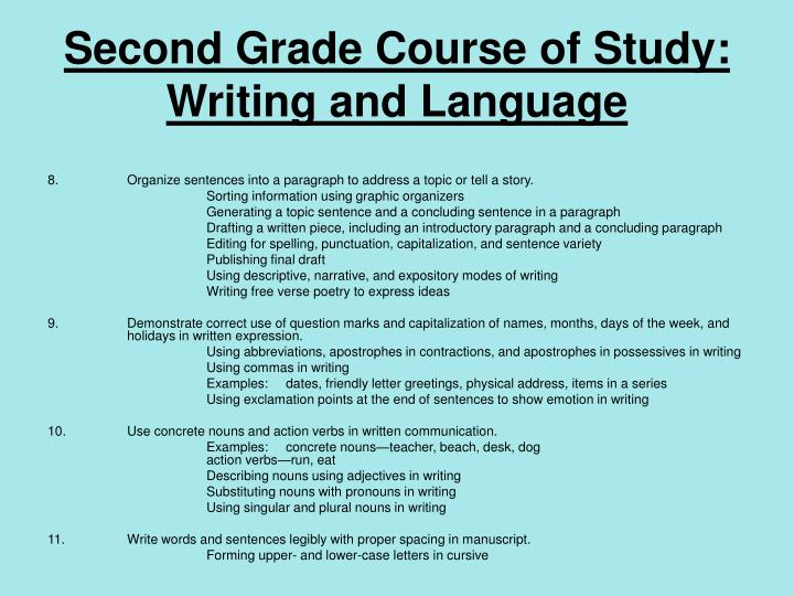 Second Grade Course of Study: Writing and Language