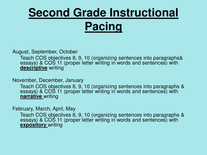 Second Grade Instructional Pacing