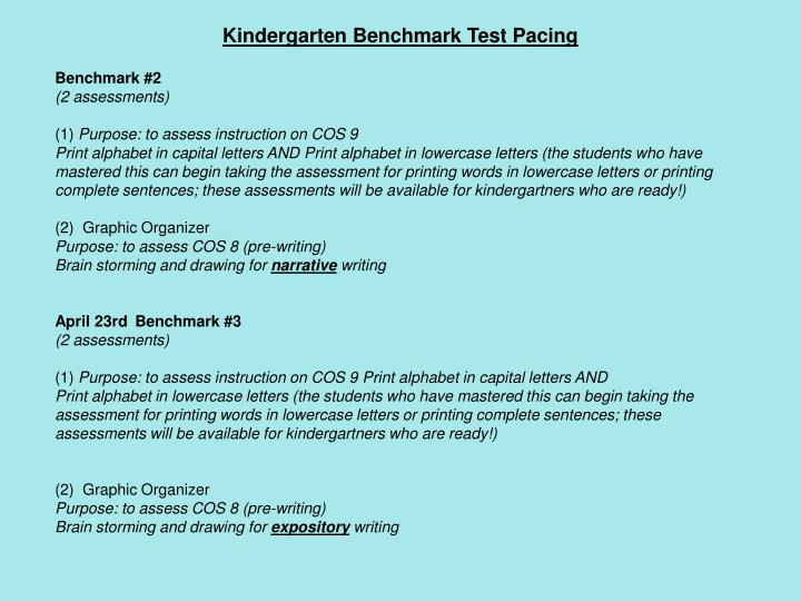 Kindergarten Benchmark Test Pacing