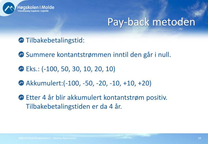 Pay-back metoden