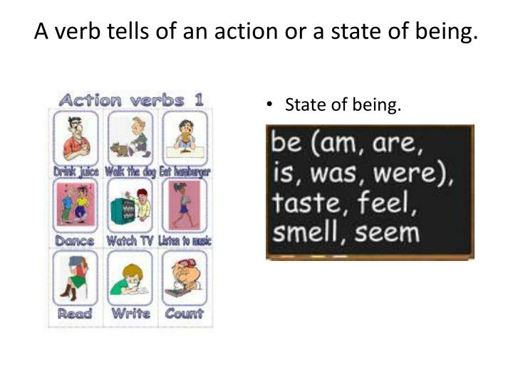 A verb tells of an action or a state of being