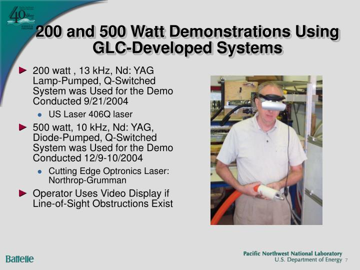 200 and 500 Watt Demonstrations Using GLC-Developed Systems