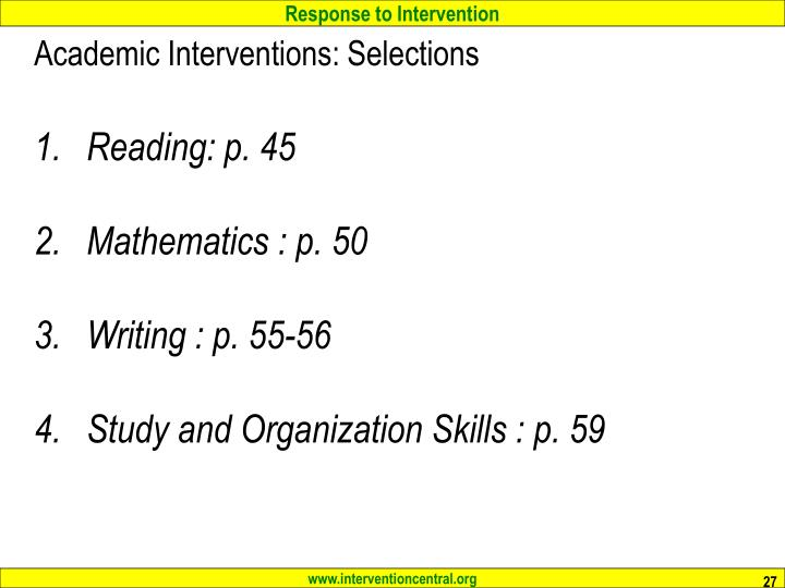 Academic Interventions: Selections