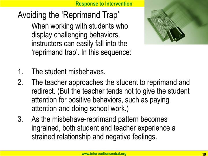 Avoiding the 'Reprimand Trap'