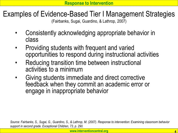 Examples of Evidence-Based Tier I Management Strategies