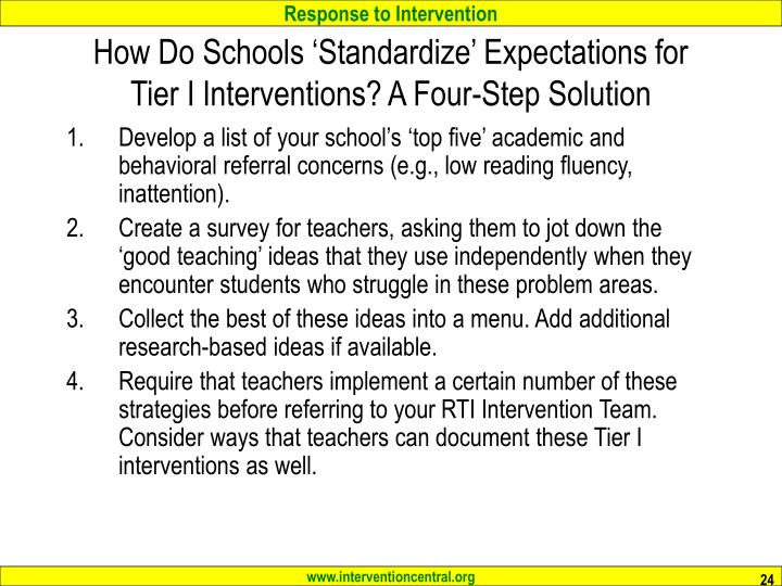 How Do Schools 'Standardize' Expectations for Tier I Interventions? A Four-Step Solution