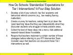 how do schools standardize expectations for tier i interventions a four step solution