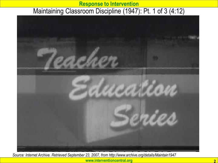 Maintaining Classroom Discipline (1947): Pt. 1 of 3 (4:12)