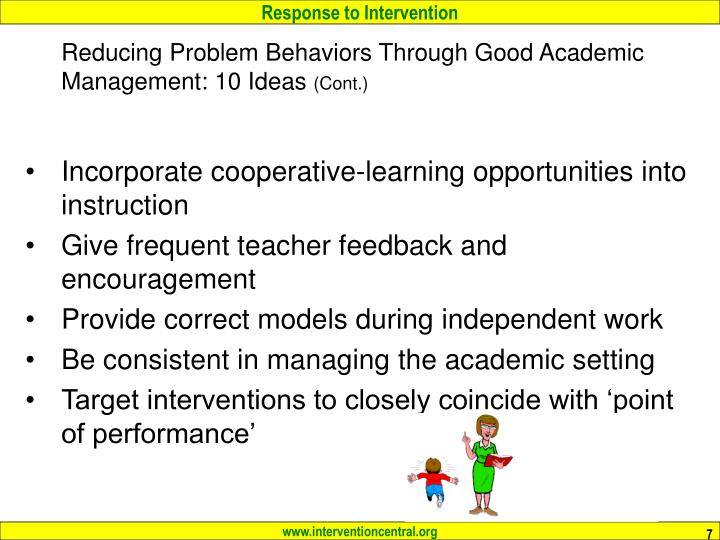 Reducing Problem Behaviors Through Good Academic Management: 10 Ideas