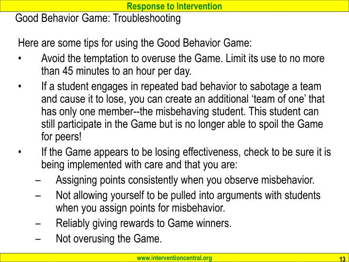 Good Behavior Game: Troubleshooting
