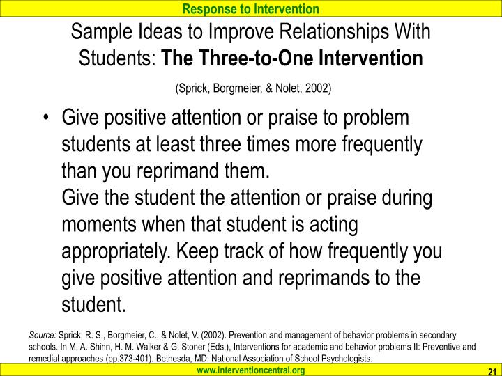 Sample Ideas to Improve Relationships With Students: