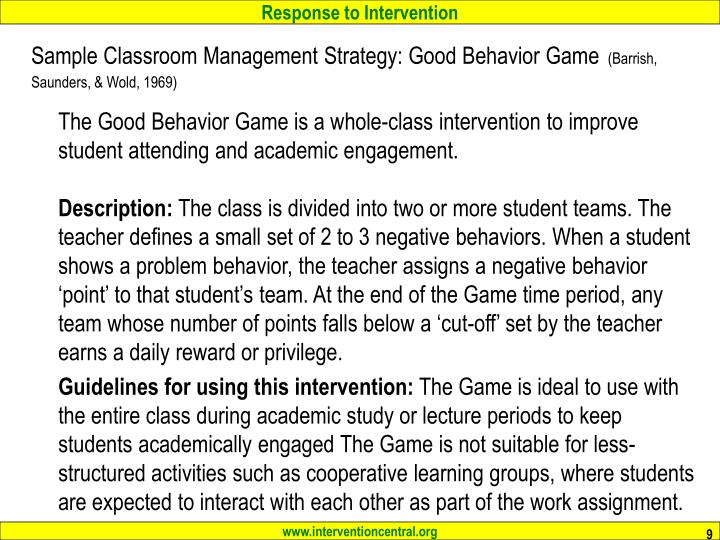 Sample Classroom Management Strategy: Good Behavior Game