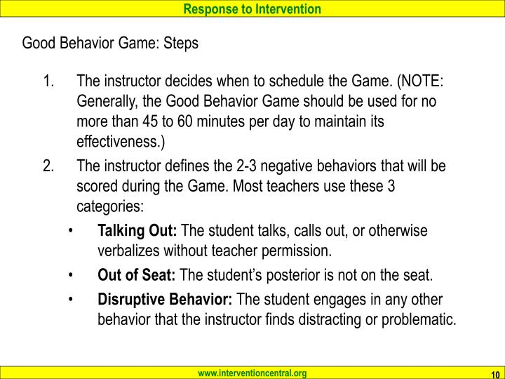 Good Behavior Game: Steps