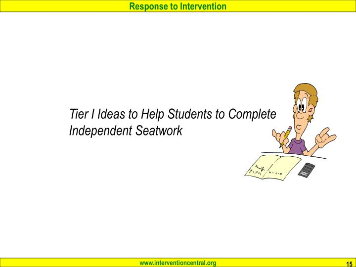 Tier I Ideas to Help Students to Complete