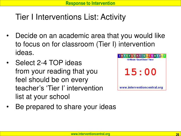 Tier I Interventions List: Activity