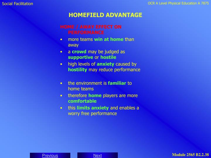 HOME / AWAY EFFECT ON PERFORMANCE