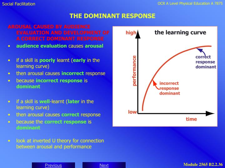 AROUSAL CAUSED BY AUDIENCE EVALUATION AND DEVELOPMENT OF A CORRECT DOMINANT RESPONSE