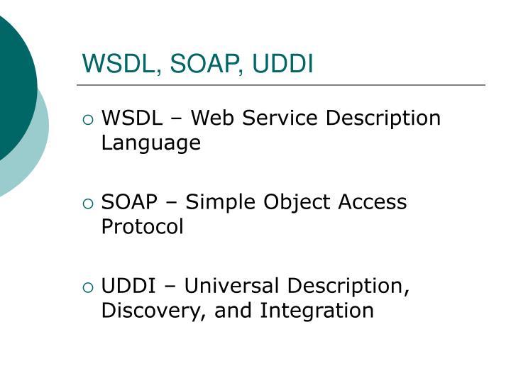 WSDL, SOAP, UDDI