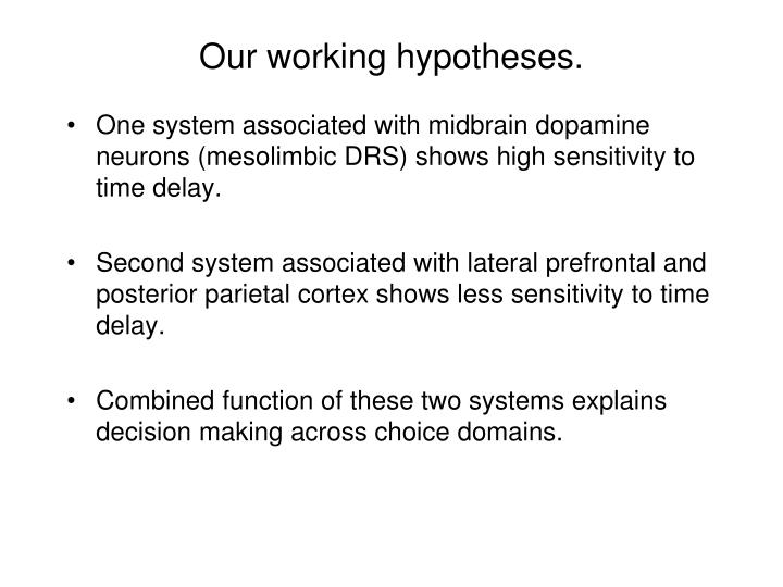 Our working hypotheses.