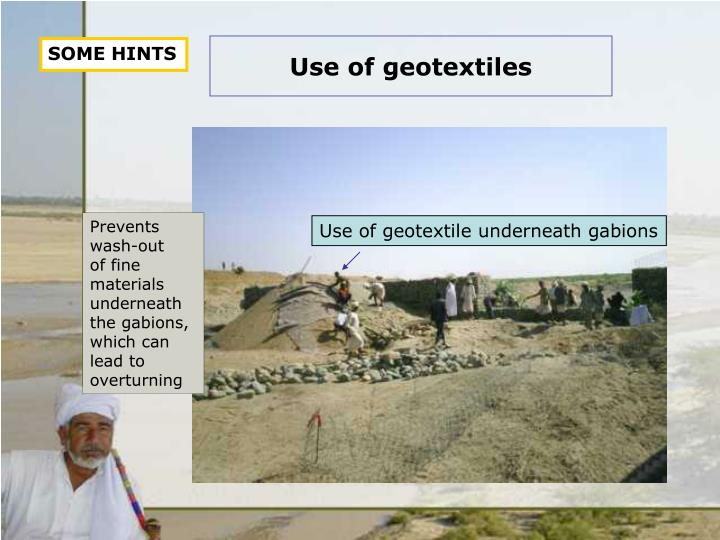 Use of geotextiles