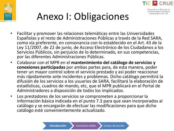 Anexo I: Obligaciones