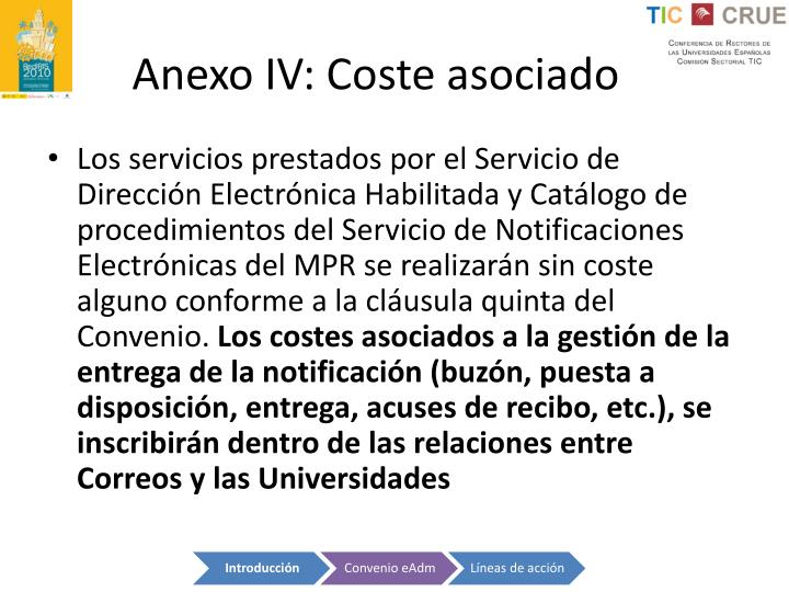 Anexo IV: Coste asociado
