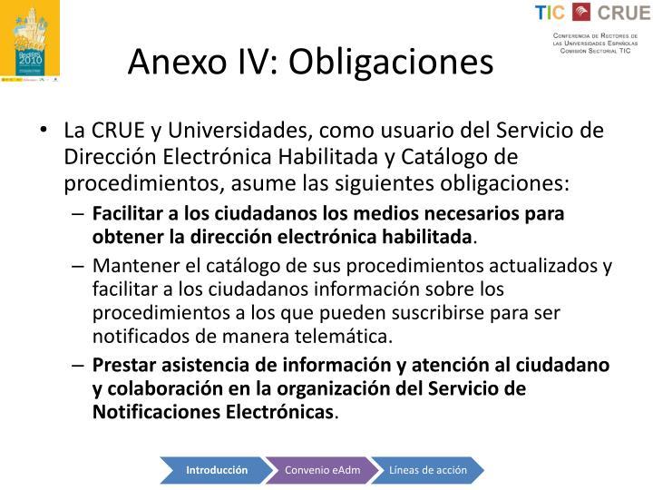 Anexo IV: Obligaciones