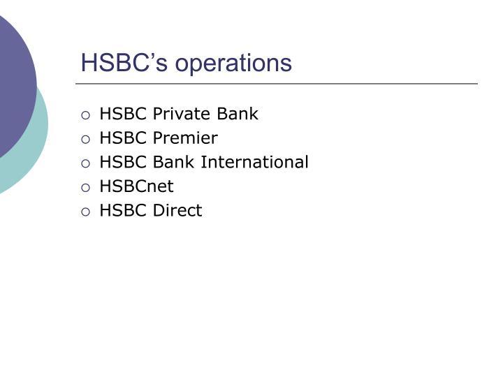 HSBC's operations
