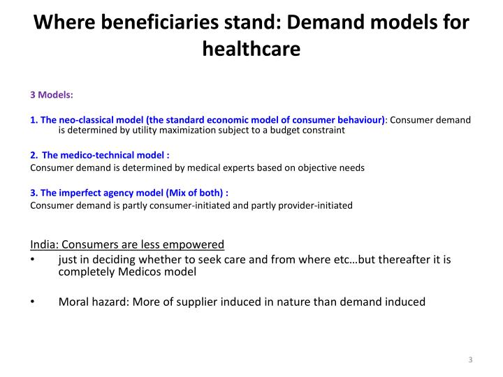 Where beneficiaries stand: Demand models for healthcare