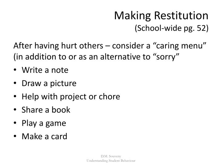 Making Restitution
