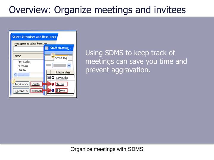 Overview: Organize meetings and invitees