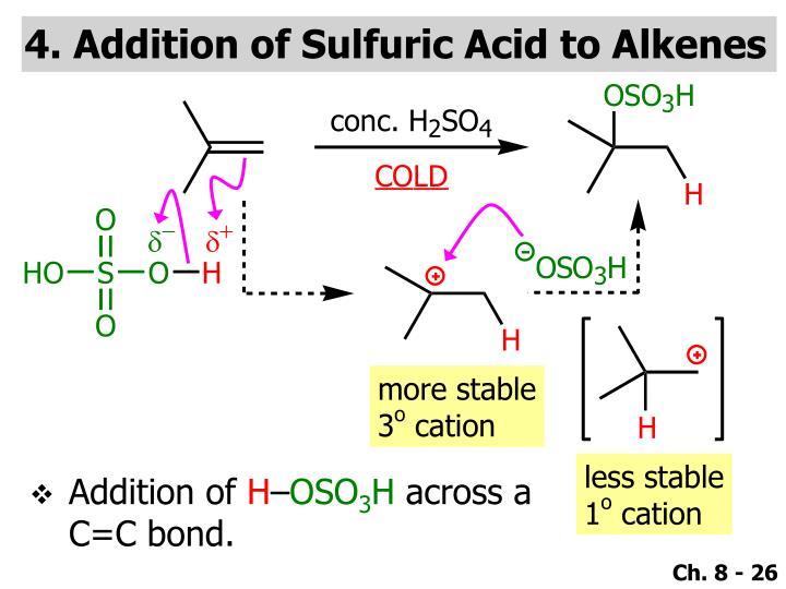 4. Addition of Sulfuric Acid to Alkenes
