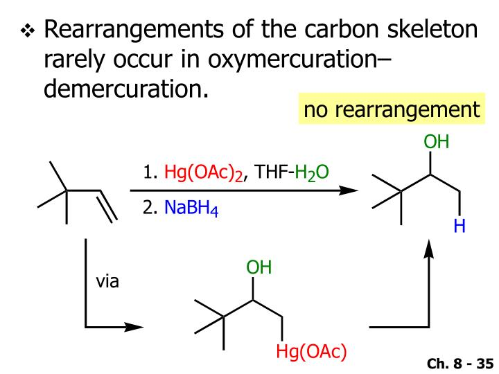 Rearrangements of the carbon skeleton rarely occur in oxymercuration–demercuration.