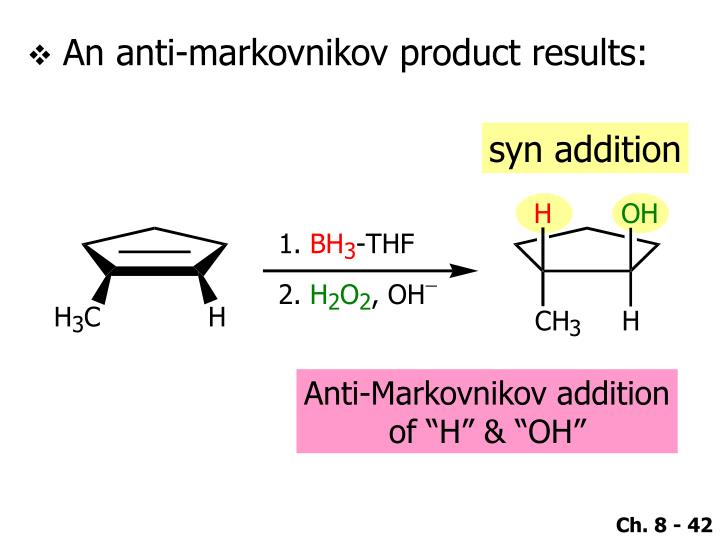 An anti-markovnikov product results: