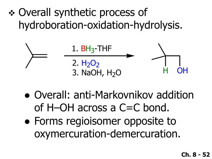 Overall synthetic process of hydroboration-oxidation-hydrolysis.