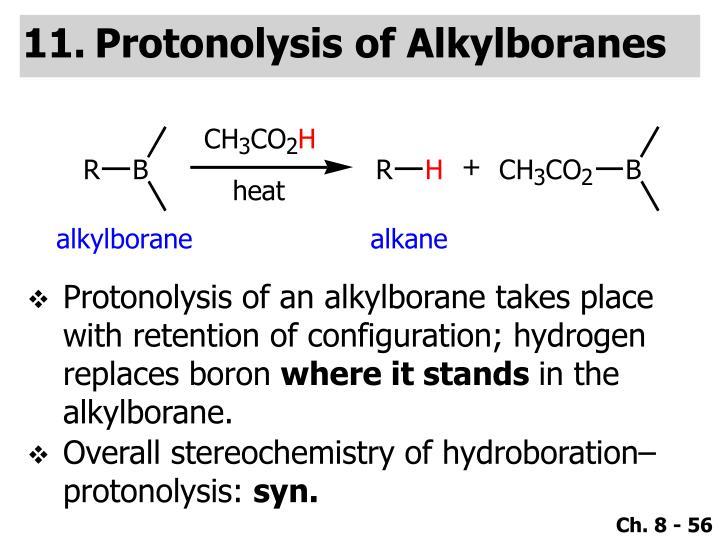 Protonolysis of Alkylboranes