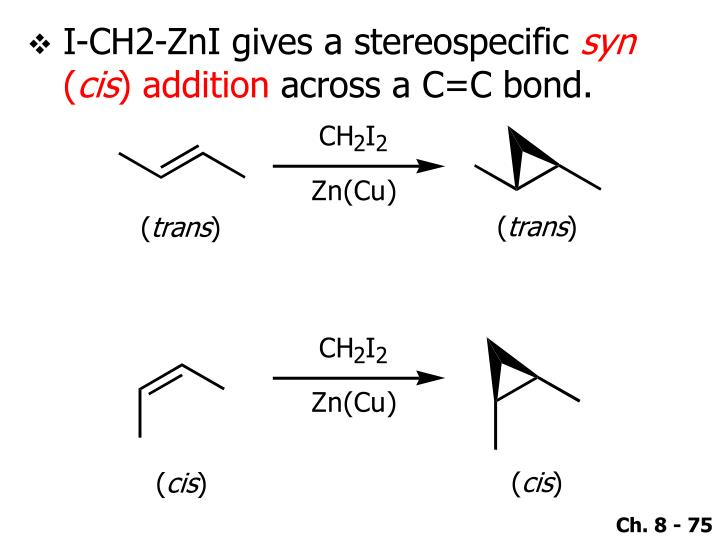 I-CH2-ZnI gives a stereospecific
