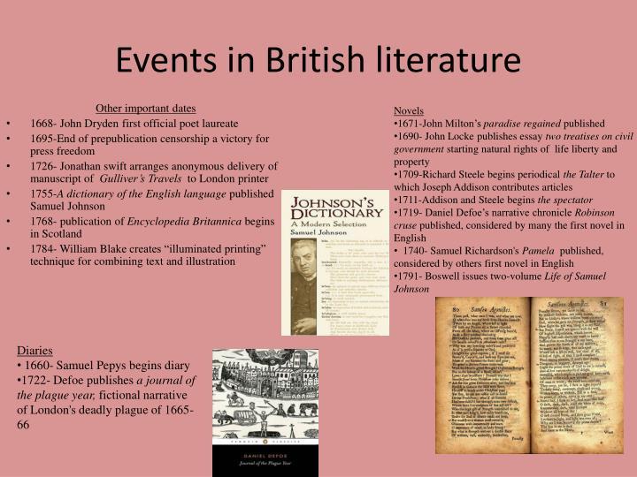 Events in British literature
