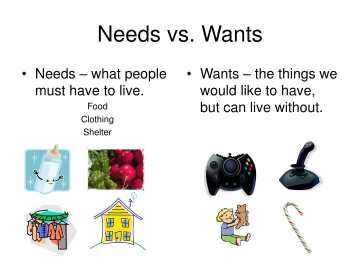Needs – what people must have to live.