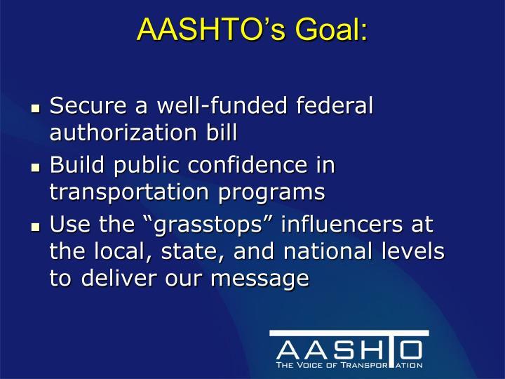 AASHTO's Goal: